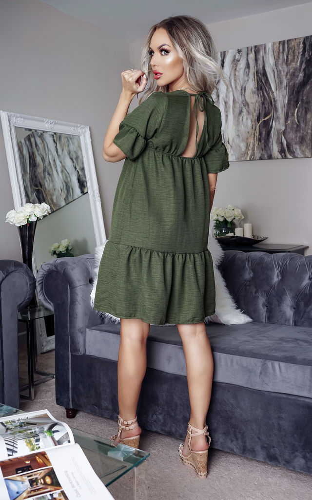 Doni Khaki V Neck Tierred Smock Dress by Missfiga