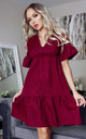 Doni Burgundy V Neck Tierred Smock Dress by Missfiga