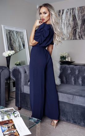 Jennifer Navy Wrap Ruched Sleeve Flared Leg Jumpsuit by Missfiga