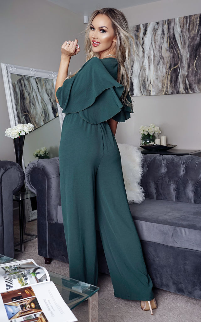 Kerri Green Wrap Batwing Jumpsuit by Missfiga
