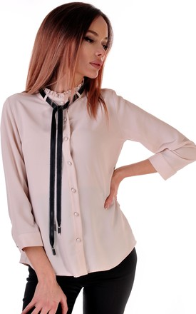 Elegant Long-Sleeved Shirt in Pink with a Discreet Collar and Black Bow by Malanna Fashion