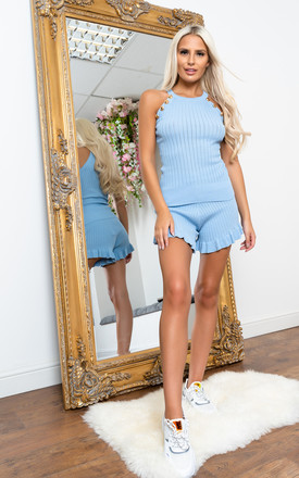 Ribbed shorts set SKY by Miss Attire