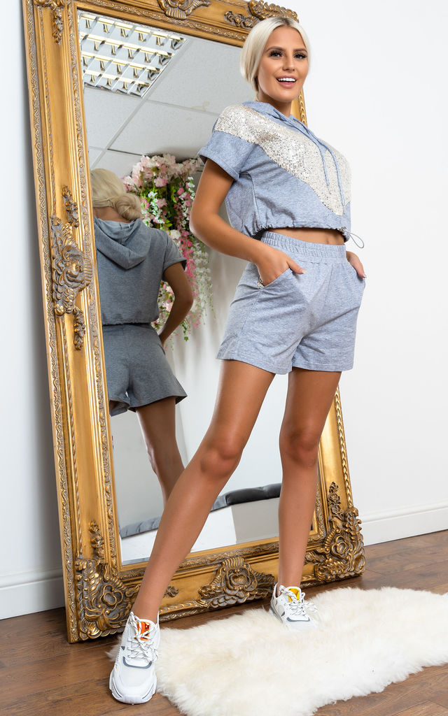 Shimmer hooded shorts set GREY by Miss Attire