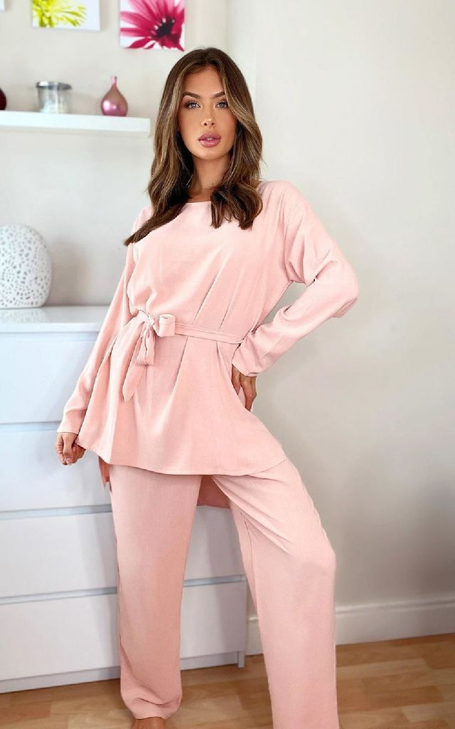 Cara Tie Waist Lounge Co-ord in Rose by IKRUSH