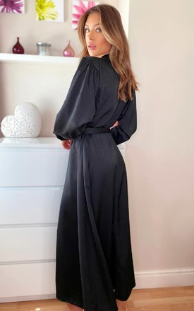 Bethany Button Up Satin Maxi Dress in Black by IKRUSH