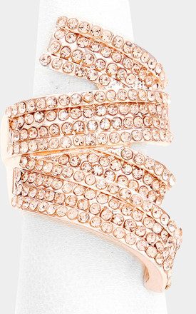 Rose Gold Crystal Jewelled Stretch Style Cocktail Ring by Olivia Divine Jewellery