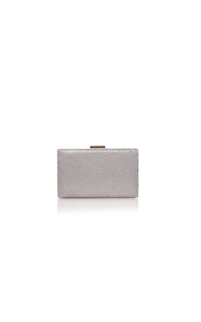 Taupe Diamante Encrusted Satin Evening Clutch Bag by Perfect Shoes