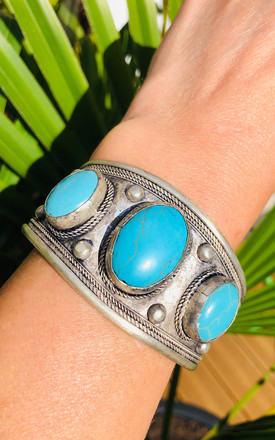 Ethnic turquoise howlite statement cuff by Lovelock jewels