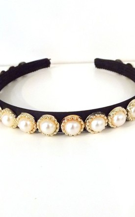 Pearl and Black Mini Handmade  Headband by Olivia Divine Jewellery