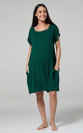 Women's Maternity Labor Delivery Hospital Gown Breastfeeding in Dark Green by Chelsea Clark