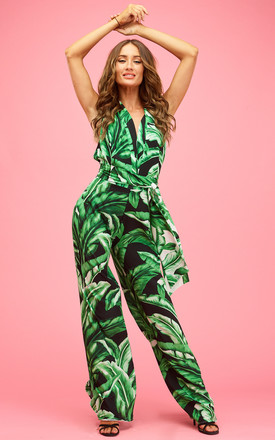 Tokyo Trouser Suit Midnight Palms by Rebecca Rhoades