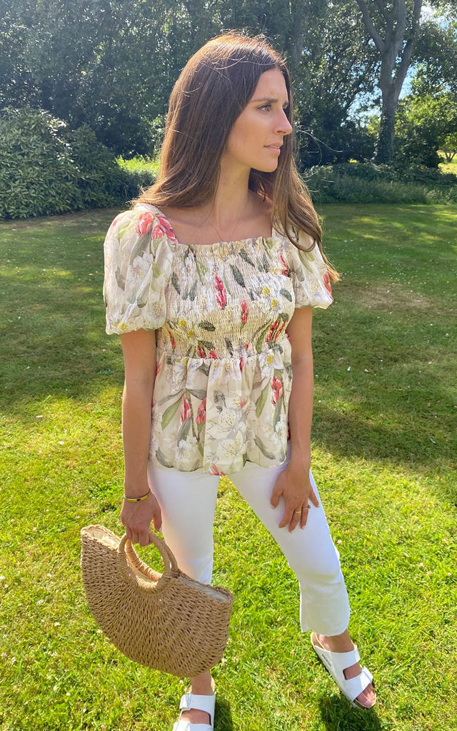 CYDNEY PUFF SLEEVE TOP IN IVORY SUMMER FLORAL by mychicwardrobe