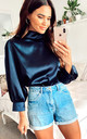 Lou Satin Blouse in Navy by Zibi London