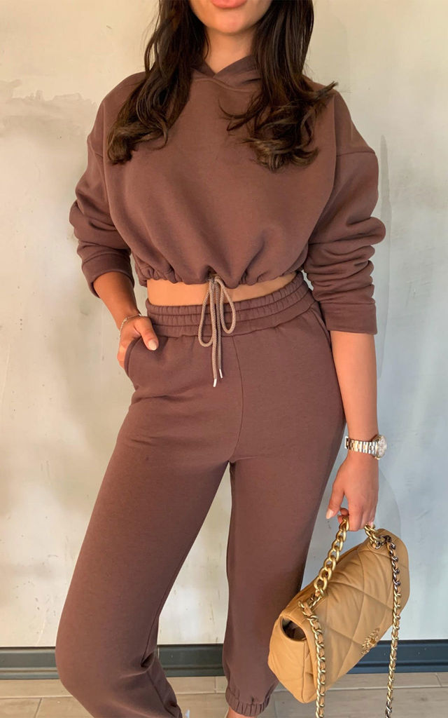 LARA Chocolate Hooded Crop Lounge Set by Glamify