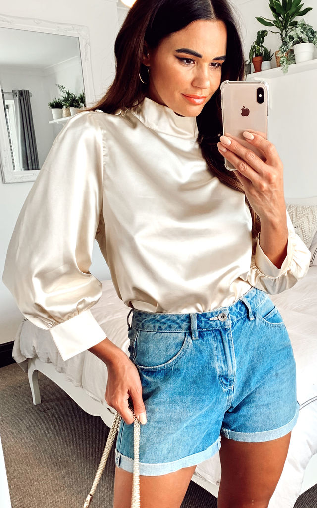 Lou Satin Blouse in Gold by Zibi London