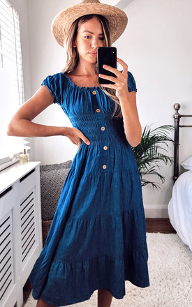 Denim Bardot Dress   Midi Length by KURT MULLER Product photo