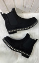 Calandra Diamante Chelsea Ankle Boots in Black Faux Suede by Larena Fashion