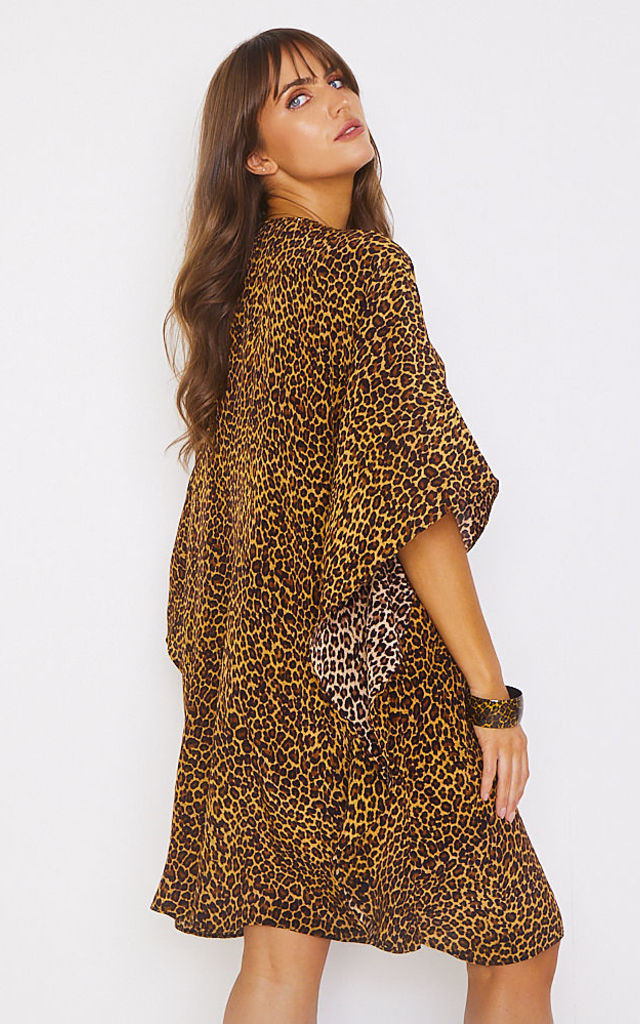 Arya Tassel Kaftan in Leopard by Kitten Beachwear