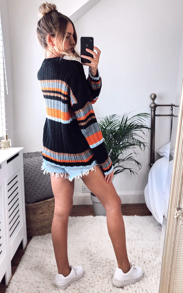 Stripe Knit Jumper in Black by KURT MULLER