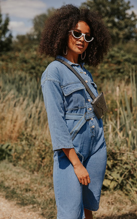 Cropped Denim Jumpsuit with Button Front and Belt by Sugar + Style