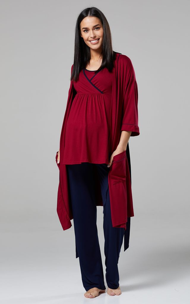 Women's Maternity Nursing Pyjamas Set/ Pants/Top/Dressing Gown Crimson and Navy 558 by Chelsea Clark