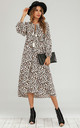 Boho Long Sleeve In Leopard Print Midi Dress by FS Collection