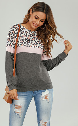 Animal Print With Charcoal Grey & Pink Striped Black Top by FS Collection