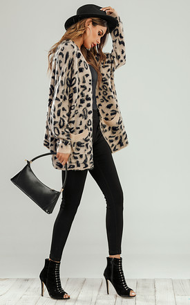 Midi Open Cardigan In Beige Animal Leopard Print by FS Collection
