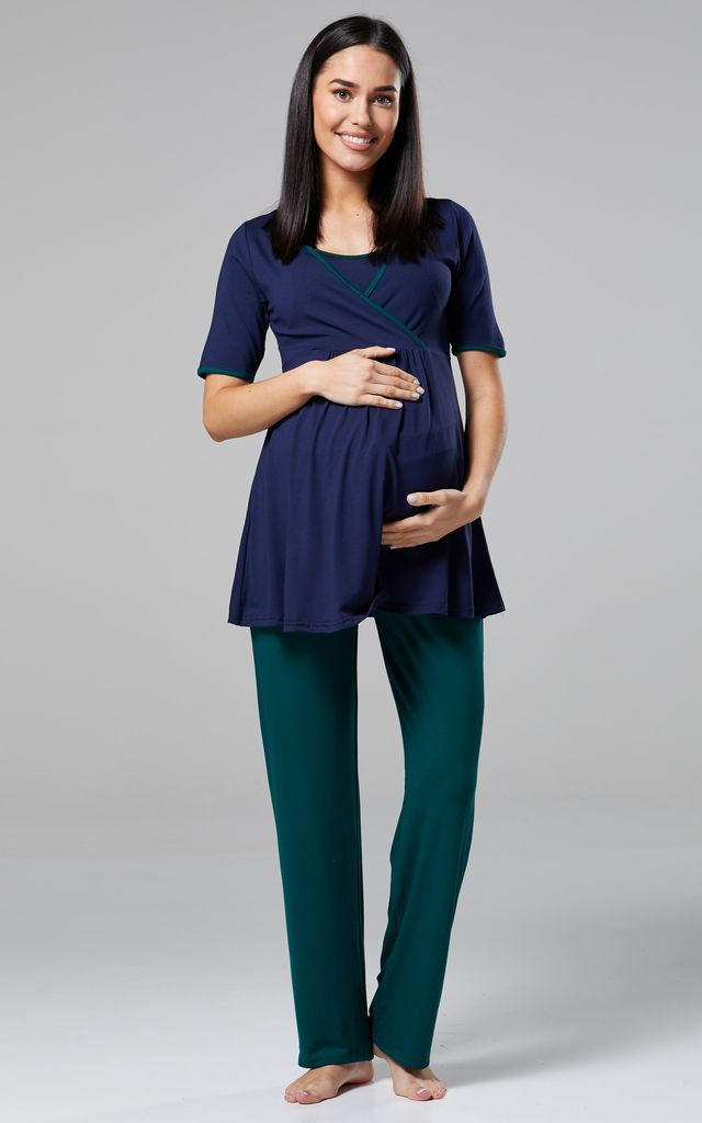 Women's Maternity Nursing Pyjamas Set/ Pants/Top/Dressing Gown Navy and Dark Green by Chelsea Clark
