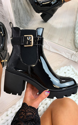 Beverly Black Patent Buckle Heeled Ankle Boots by Larena Fashion