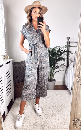 Snakeskin Printed Culotte Jumpsuit by Yumi