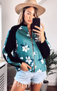 Bomber Jacket in Black and Green Floral Print by CY Boutique