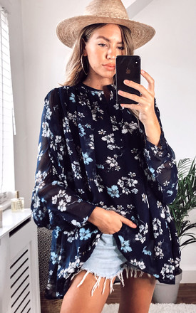 Flowy Chiffon Oversized Shirt in Navy Floral Print by CY Boutique