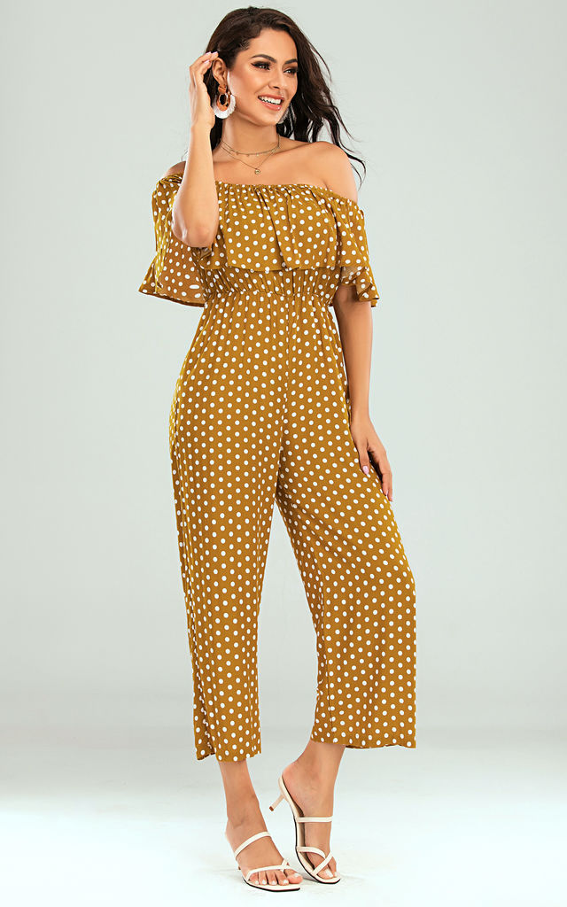 Off The Shoulder Frill Jumpsuit In Mustard Yellow Polka Dot by FS Collection