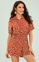 Button Down Playsuit In Orange Spot Print by FS Collection