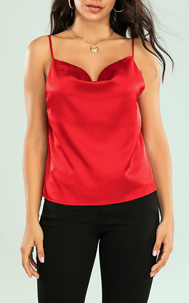 Cowl Neck Cami Top In Red by FS Collection