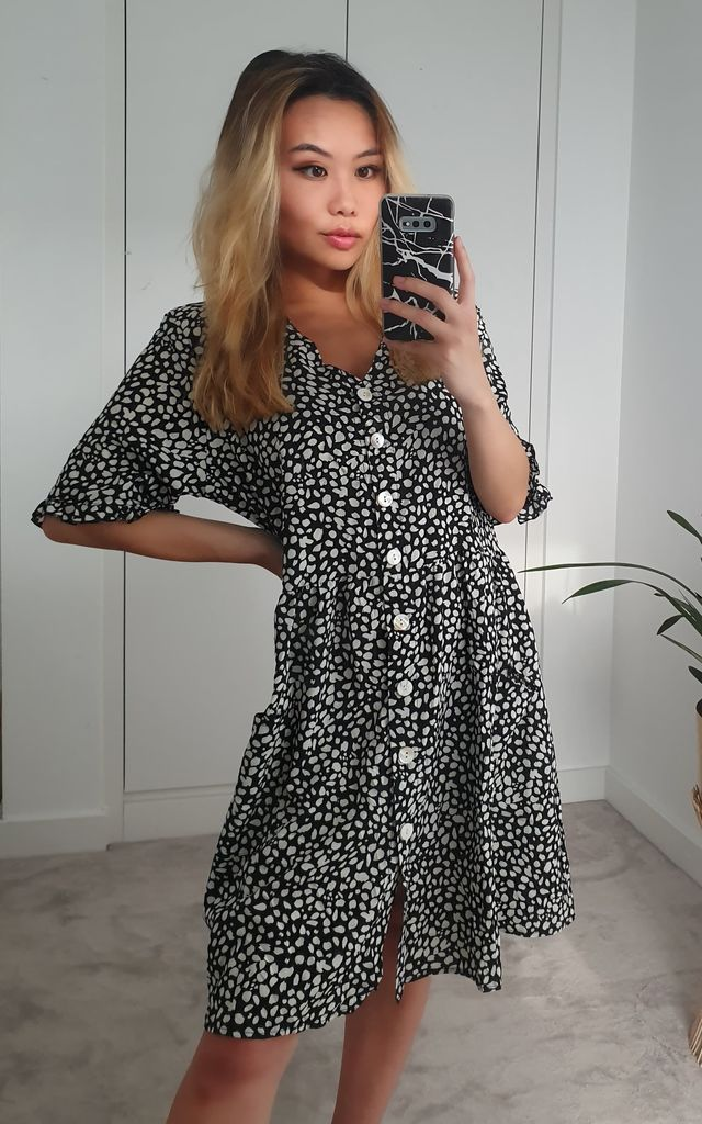 Dalmatian Polka Dot Black Aztec Smock V Neck Ruffle Mini Dress by GIGILAND UK