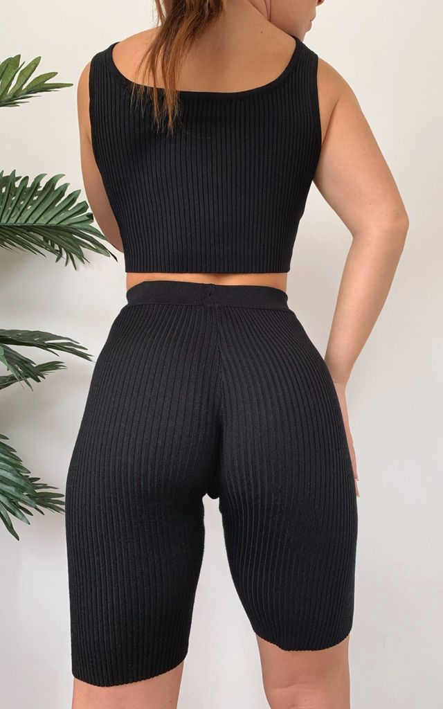 Harper Black Ribbed Knit Crop Top Co-Ord by Fifi & Bel