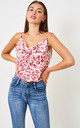 Cowl Neck Satin Cami Top | Pink Leopard by love frontrow