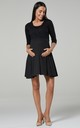 Women's Maternity Nursing Skater Tunic Mini Dress 3/4 Sleeves Black with Dots 603 by Chelsea Clark