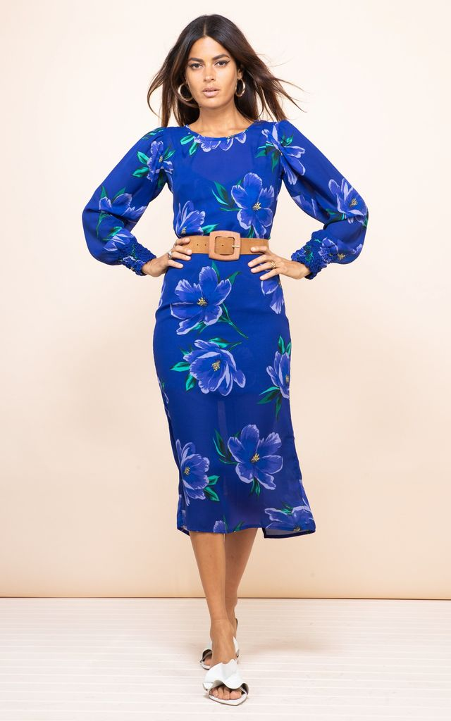Sabina Midi Dress In Blue On Blue Tulip by Dancing Leopard