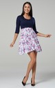 Women's Maternity Nursing Skater Tunic Mini Dress 3/4 Sleeves Navy and Small Roses Print 603 by Chelsea Clark