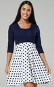 Women's Maternity Nursing Skater Tunic Mini Dress 3/4 Sleeves Navy and White with Hearts 603 by Chelsea Clark