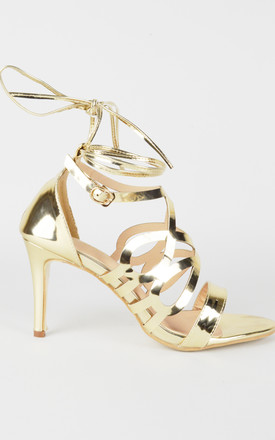 Metallic Gold High heel wrap sandals by LOVEMYSTYLE