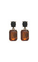 Simple gem drop earrings in toffee and black by LAST TRUE ANGEL