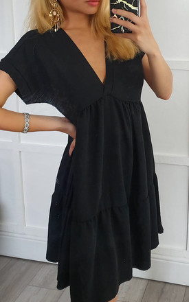 Black Smock V Neck Ruffle Mini Dress by GIGILAND UK