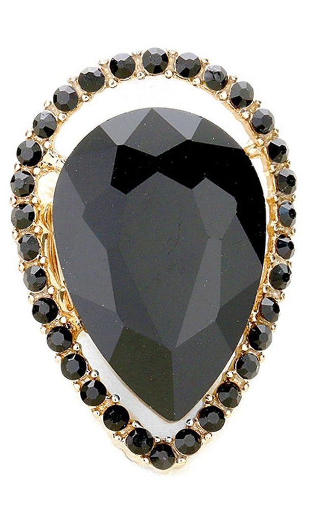Black Jewelled Teardrop Stretch Style Cocktail Ring by Olivia Divine Jewellery