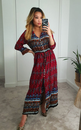 Boho Red Paisley Floral Maxi Summer Dress by GIGILAND UK
