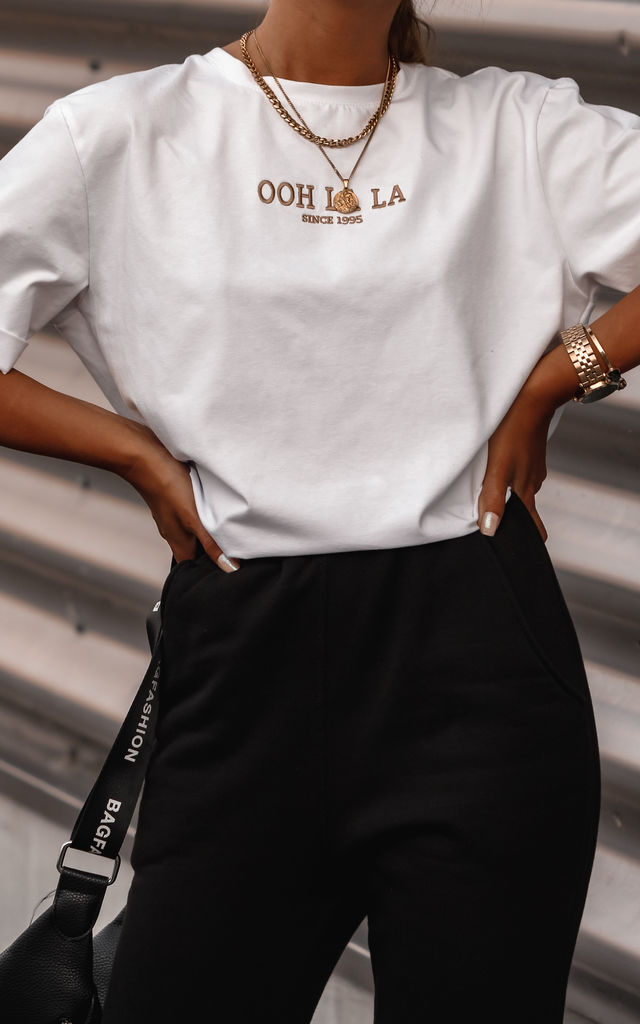White T-shirt with Gold Embroidery OOH LA LA by By Ooh La La