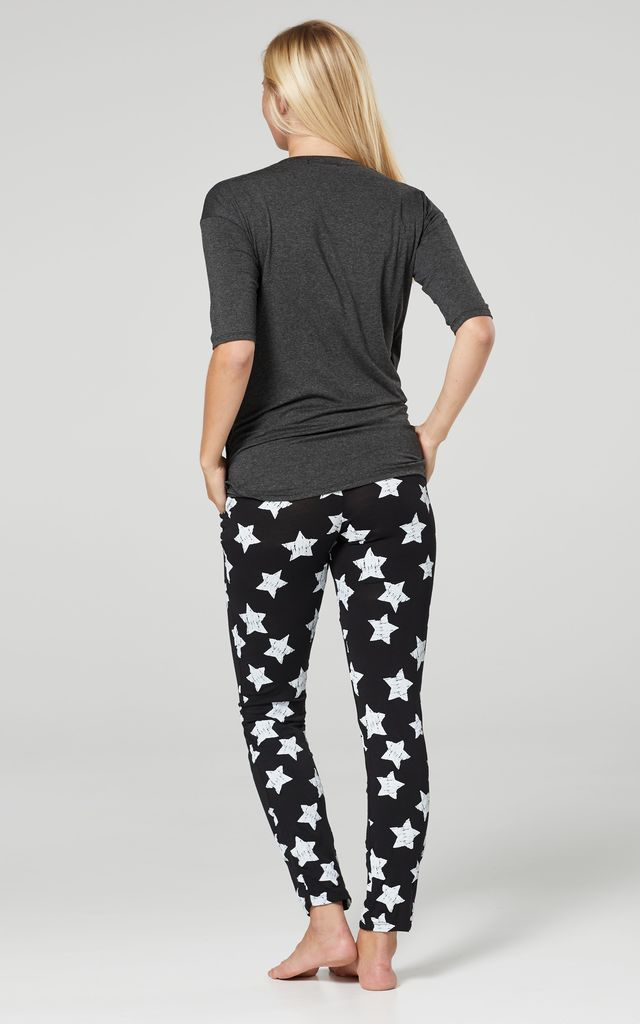 Women's Maternity Nursing Pyjama Loungewear Set Crossover Front Graphite and Black with Stars by Chelsea Clark
